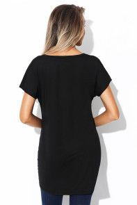 Black Short Sleeve Hi Lo Top with Twist Front Detail