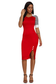 Houndstooth Patchwork Red Office Sheath Dress