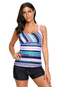 Purple Colorful Tie Dye Print Tankini Top