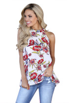 White Red Floral Back Cutout Sleeveless Top