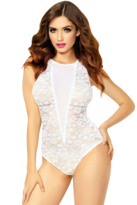 White Allover Lace and Mesh Snap Crotch Keyhole Teddy