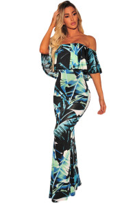 Black Green Tropical Leaf Print Off-the-shoulder Maxi Dress