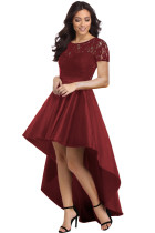Burgundy Lace Bodice Elegant Hi-low Party Dress