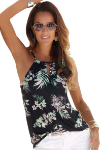 Black Tropical Floral Print Keyhole Front Tank Top