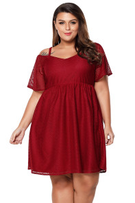 Burgundy Textured Chiffon Cold Shoulder Plus Size Skater Dress