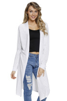 White Lightweight Knit Long Open Cardigan