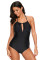 Black High Waisted Halter One-Piece Swimsuit