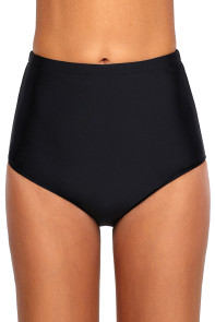 Solid Black Retro High Waist Swim Bottom