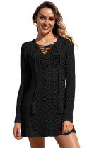 Black Lace up Hoodie Cover up Dress