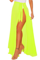 Fluorescence Yellow Sheer Wrap Maxi Beach Skirt