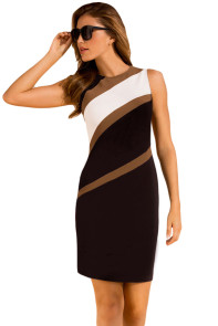 White Accents Colorblock Geometric Pattern Tube Dress