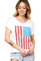 White American Flag Graphic Short Sleeve Tee