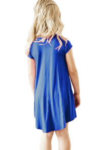 Cobalt Blue Cap Sleeve Tunic Dress for Little Girls