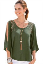 Army Green Sexy Split Sleeves Sequined Top