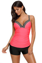 Pink Bralette Tankini Top with Shorts Swimsuit