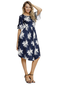 Navy Floral Print Layered Bell Sleeve Dress