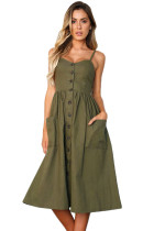 Olive Button Down Fit-and-flare Daily Dress