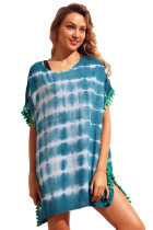Slate Blue Pom Pom Trim Tie Dye Print Beach Cover Up