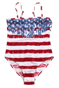 Flag Striped Star Tassel Little Girl Swimsuit