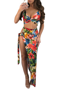 Daring Tie Side Floral Beach Skirt Set