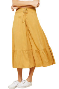 Lace-up High Waist Mustard Ruffle Hem A-line Skirt