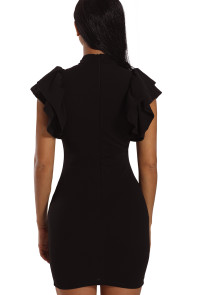 Black Keyhole Front Ruffle Bodycon Party Dress