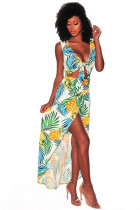 Pineapple Palm Print Tie Front High Split Maxi Dress