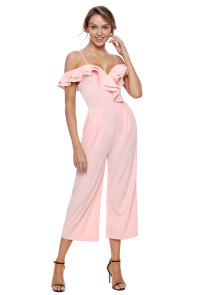 Light Pink Ruffle Neckline Jumpsuit with Pockets