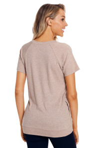 Khaki Heathered Short Sleeve Pocket Tee