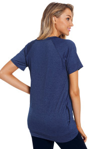 Navy Heathered Short Sleeve Pocket Tee