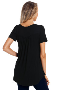 Black Button Front Babydoll Flowy Tee Top with Pleats