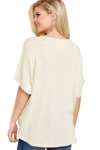 White Dolman Buttoned Front Top with Tie