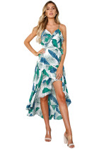 Green Blue Palm Print Ruffle Detail Sundress
