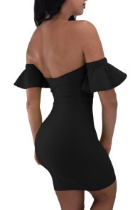 Black Flared Short Sleeves Tie Front Bodycon Dress