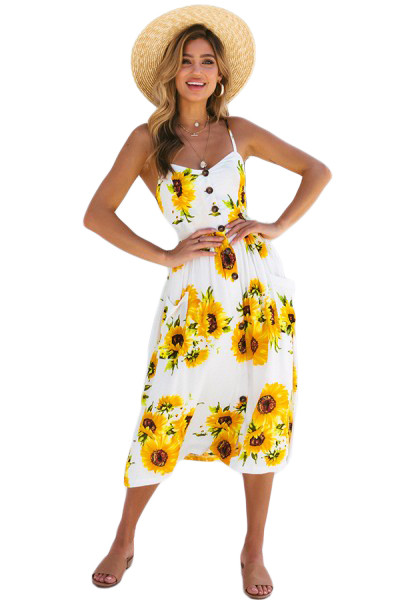 Sunflower Print White Button Down Sundress
