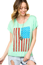 Light Mint American Flag Graphic Short Sleeve Tee