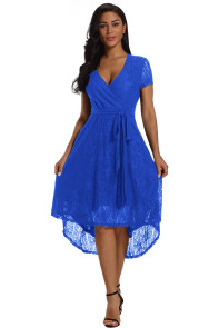 Royal Blue Wrap and Tie Lace Hi-lo Midi Dress