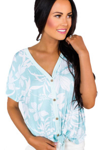 Blue White Floral Button Front Short Sleeve Top