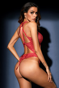 Red Cut out Lace Teddy
