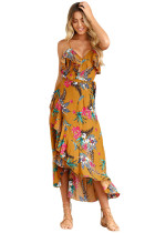 Mustard Ruffle Detail Tropical Floral Sundress