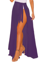 Dark Purple Sheer Wrap Maxi Beach Skirt