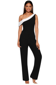 Black White Colorblock One-shoulder Jumpsuit