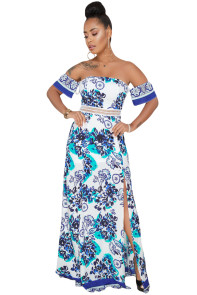 Elegant Blue Floral Print Off Shoulder Maxi Dress