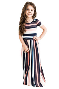 Coral Multicolor Striped Baby Girl Maxi Dress