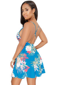 Blue Floral Open Back Fit-and-flare Mini Dress