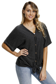 Black Dolman Buttoned Front Top with Tie