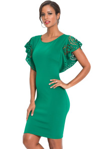 Green O-Neck Hollow Out Cloak Sleeve Bodycon Mini Dress