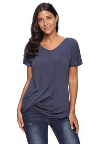 Navy V-Neck Twist Ruched Basic Short Sleeve Tee