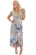 Taupe Floral Print High Low Wrap Dress