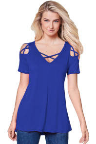 Blue Strappy Cold Shoulder Top